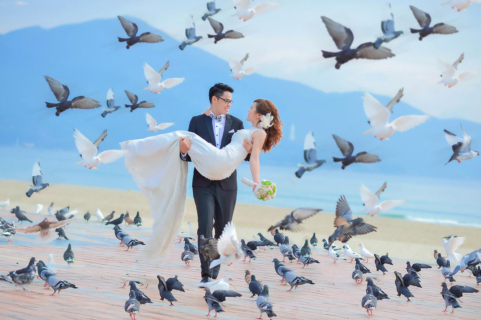Công viên Biển Đông - địa điểm chụp ảnh cưới lãng mạn với hàng trăm chú chim bồ câu